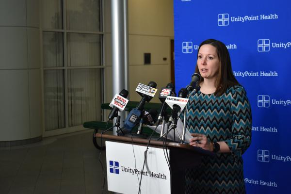 Woodford County Health Department Administrator Hillary Aggertt speaks at a press conference at Peoria's Methodist Atrium on March 14, 2020.