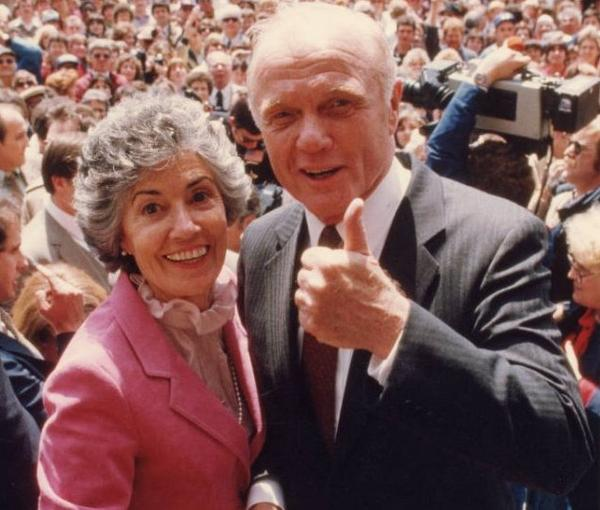 Annie and John Glenn smile at the event announcing his run for president in New Concord, Ohio, on April 21, 1983.  Glenn later withdrew from the race.