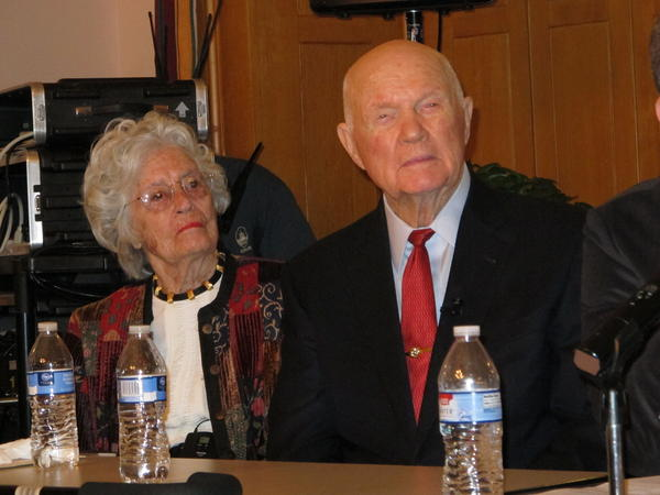 Annie and John Glenn at a Statehouse event promoting the iCivics online program in May 2015.