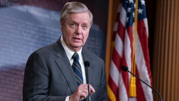 Sen. Lindsey Graham, R-S.C., speaks during a Capitol Hill news conference on March 25.