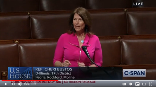 US Rep. Cheri Bustos speaks on the House floor in support of the Heroes Act.
