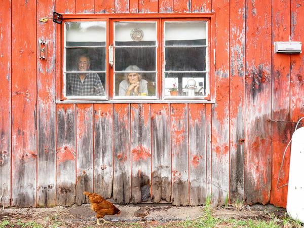 Floyd Van Alstyne, 100, and his wife, Marjorie Van Alstyne, 92, live on a farm in East Barnard.