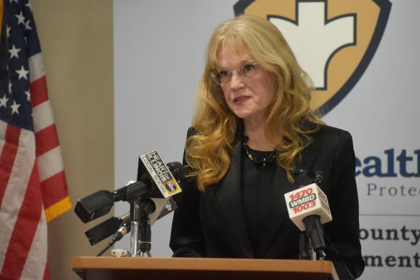 WTVP President and CEO Lesley Matuszak during the Peoria City/County Health Department press briefing on Wednesday, May 20.