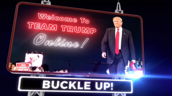 A screen capture shows the introduction to a Trump campaign nightly webcast.