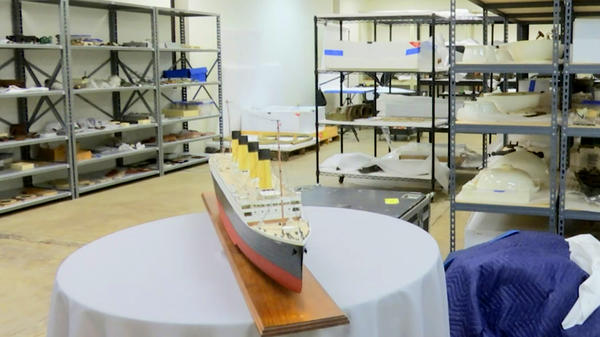A judge in Virginia has ruled that a salvage company may cut into the remains of the Titanic to retrieve the ship's wireless telegraph machine. Artifacts from the sunken vessel are sit on shelves at a storage facility in Atlanta in this Feb. 18 photo.
