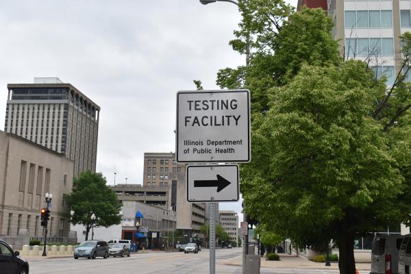 A sign on Main near Monroe directing people to the new state testing site set up in the Civic Center Fulton St. parking lot.