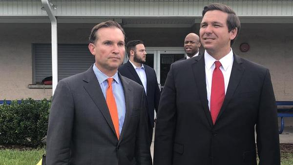File photo of Jacksonville Mayor Lenny Curry (left) and Fla. Gov. Ron DeSantis.