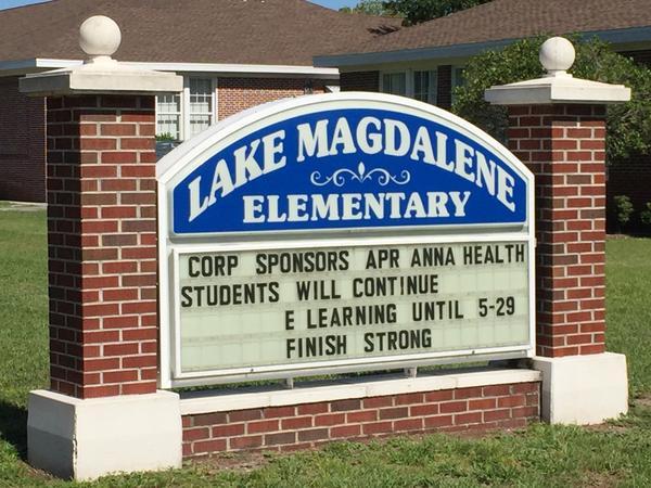 Sign for Lake Magadalene Elementary in Hillsborough County