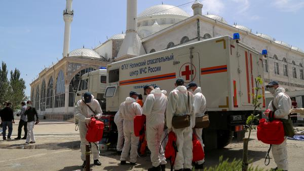 Russian Emergency Situations Ministry employees carry out the disinfection of a mosque in Makhachkala, Dagestan's capital.