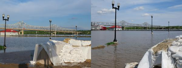 Peoria riverfront flooding on May 21, 2020 on the left. RIverfront as viewed on May 5, 2019.