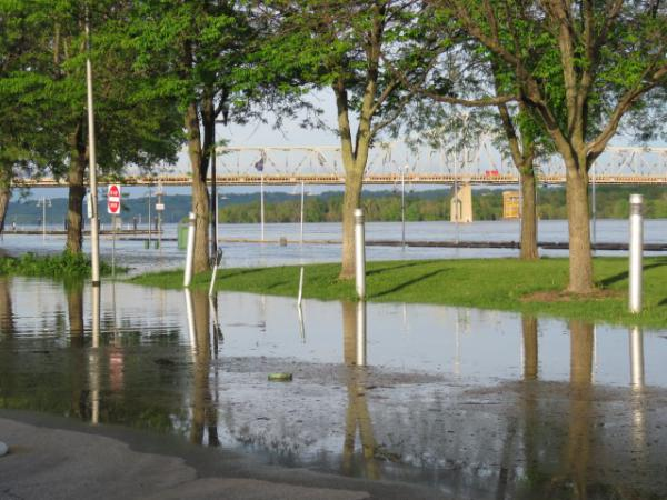 Peoria riverfront flooding on May 21, 2020.
