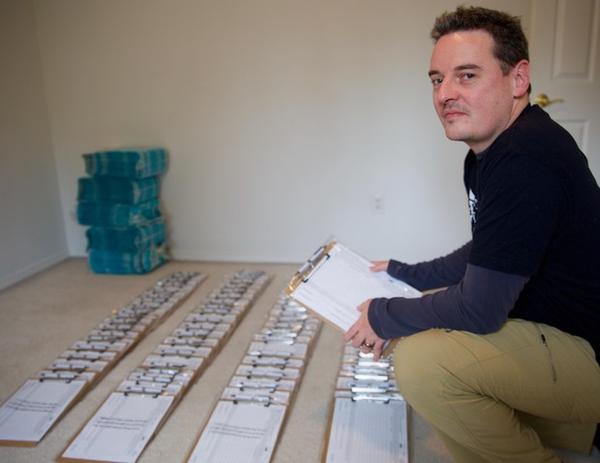 <p>Beaverton therapist Tom Eckert prepares to collect signatures to legalize psilocybin in June 2019.</p>