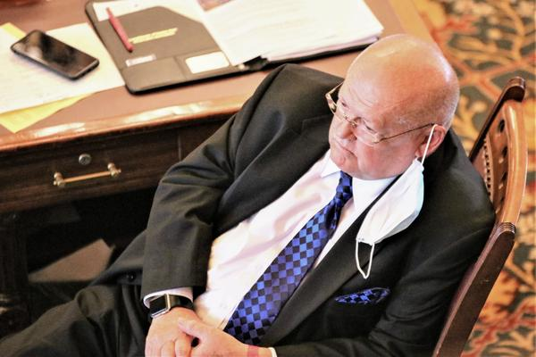 State Sen. John Skubal, an Overland Park Republican, waits out a long day in Topeka.