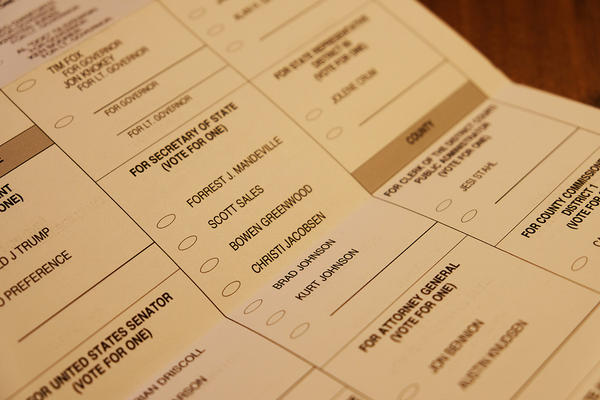 A ballot shows the Republican candidates for the Montana Secretary of State primary election June 2, 2020.