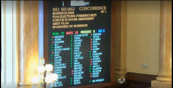 The final vote on Senate Bill 1863, a measure expanding remote voting options for Illinois' nearly five million registered voters