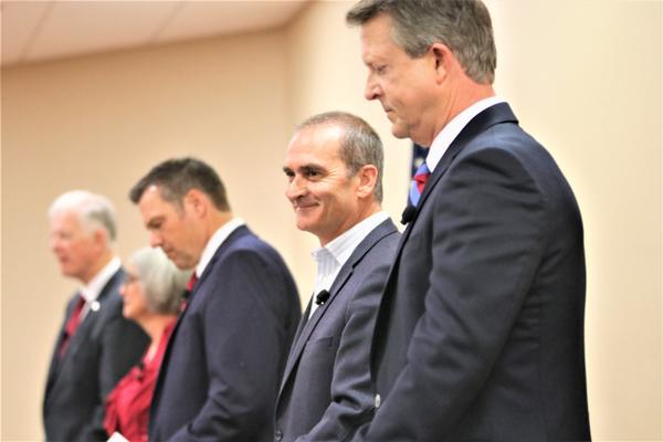 Republican candidates for the U.S. Senate. From right to left: U.S. Rep. Roger Marshall, businessman Bob Hamilton, former Kansas Secretary of State Kris Kobach, state Senate President Susan Wagle and former football player Dave Lindstrom.