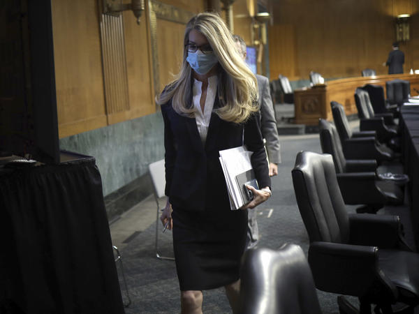 Sen. Kelly Loeffler, R-Ga., leaves after a virtual Senate Committee for Health, Education, Labor, and Pensions hearing on May 12.