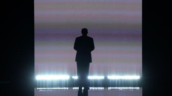 Candidate Donald Trump makes a dramatic entrance on the first night of the 2016 Republican National Convention in Cleveland. His campaign hopes to replicate the scale of that event to demonstrate a recovery from the coronavirus pandemic.