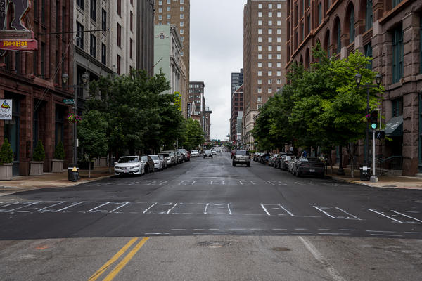 The coronavirus pandemic meant fewer cars on the road in downtown St. Louis. That enabled crews to pave streets that had been torn up by utility work, like a section of Washington Avenue pictured here on May 21.