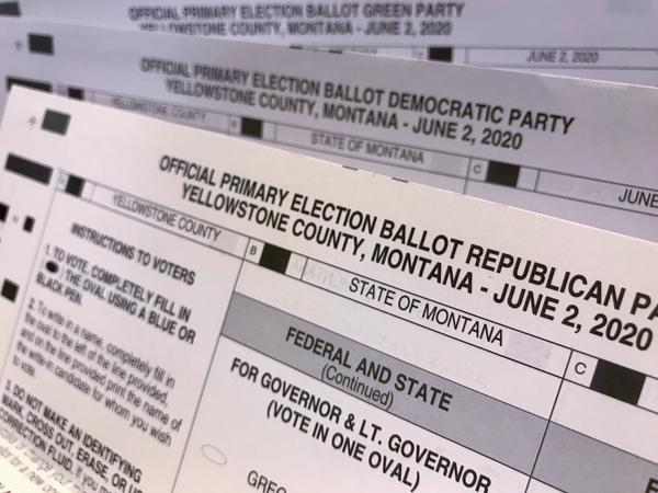 Ballots for the Republican, Democratic and Green party primary 2020 election.
