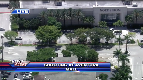 Police respond to a shooting incident at Aventura Mall on Friday.