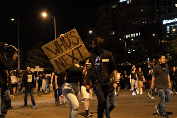 The crowd at Friday's Black Lives Matter protest began to disperse around 10 p.m. — but not before a final walk through neighboring streets in the Plaza neighborhood.