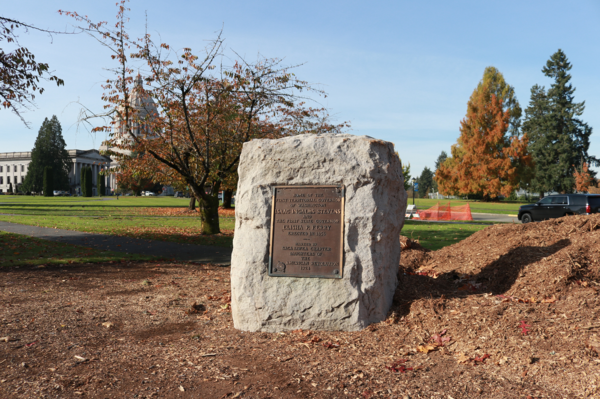 This bronze plaque commemorating the location of the home of Washington's first territorial and state governors was stolen from the Capitol Campus earlier this month. Now the Washington State Patrol is seeking tips from the public.