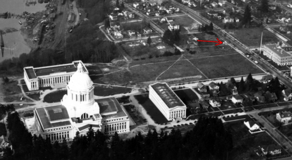 This aerial photograph shows the location of Gov. Issac Stevens' home before it was razed. The red arrow points to the location of the monument that commemorated the home.