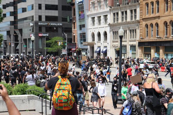 Crowds protesting the killing of George Floyd in downtown Columbus on Saturday, May 30, 2020.
