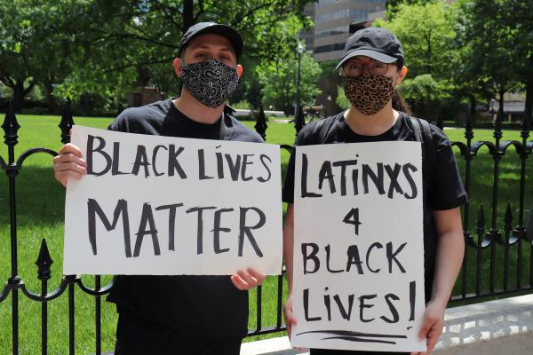 Kaleb Murphy and Amarish Lemu at the downtown Columbus protest on May 30, 2020.