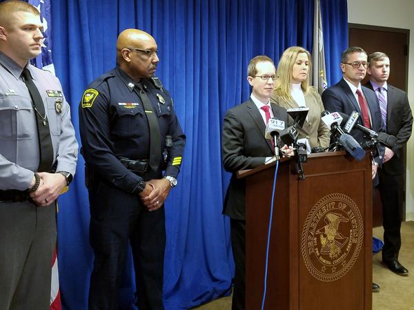 U.S. Attorney for the Southern District of Ohio Benjamin Glassman, center, discusses the indictment of 12 people in a drug scheme with ties to the Sinaloa Cartel.