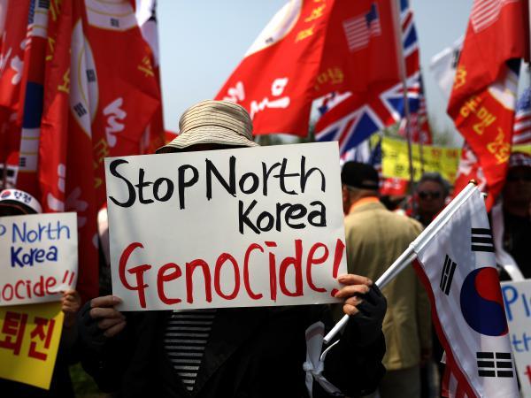 South Koreans protest against the April 27 inter-Korean summit, when North Korean leader Kim Jong Un and South Korean President Moon Jae-in met at the border.