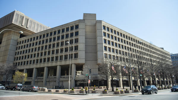 "The FBI building in downtown Washington, D.C. — Utah Sen. Mike Lee describes it as looking like ""an abandoned set from <em>The Hunger Games</em>."""