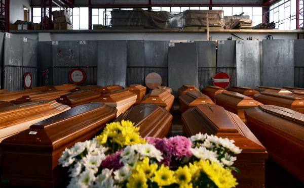 Coffins of deceased people stored in a warehouse near Bergamo — a city at the heart of Italy's coronavirus crisis — before being transported to another region for cremation.