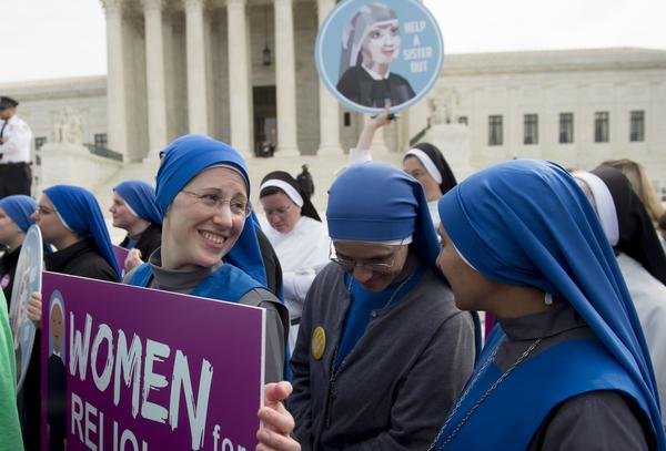 Nuns rally outside the Supreme Court in 2016 following oral arguments in seven cases dealing with religious organizations that want to ban contraceptives from their health insurance policies. The court is hearing arguments in a related case on Wednesday.