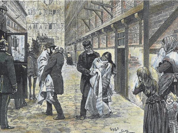 An illustration showing patients being brought to the hospital during Hamburg's 1892 cholera outbreak.