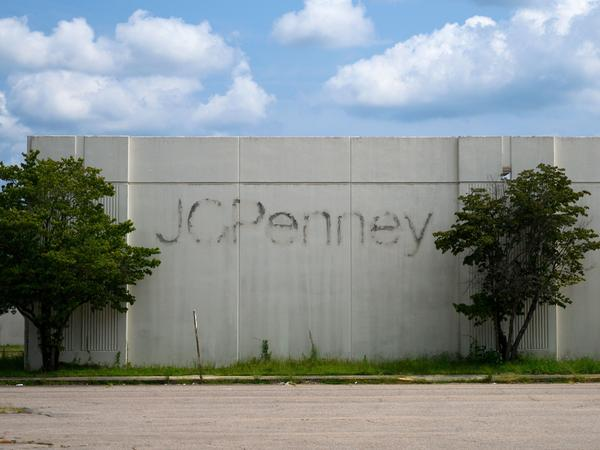 The remains of a J.C. Penney store are seen at an abandoned shopping mall in North Carolina. The department store chain is filing for bankruptcy as coronavirus lockdowns shatter its plans for recovery.