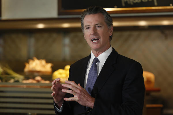 Gov. Gavin Newsom announced new criteria related to coronavirus hospitalizations and testing that could allow counties to open faster than the state during a news conference in Napa, Calif., on Monday.