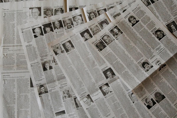 The April 19 edition of <em>The Boston Globe</em> had 16 pages of obituaries.