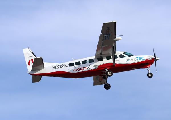A modified Cessna Grand Caravan takes off from Moses Lake, Washington, on its inaugural flight using fully-electric propulsion on Thursday..