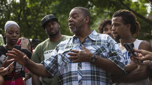 Clarence D. Castile, uncle of Philando Castile, speaks outside the governor's mansion July 7, 2016 in St. Paul, Minn.