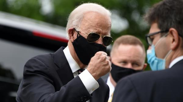 Joe Biden makes a visit to a veterans memorial in Delaware last Monday. He made his second trip away from his home since the pandemic started on Sunday with a visit to a protest site in Wilmington, Del.