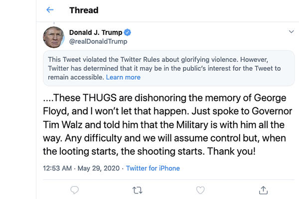 This image from the Twitter account of President Donald Trump shows a tweet he posted on May 29, after protesters in Minneapolis. On Tuesday, the Center for Democracy and Technology sued Trump over the president's executive order aimed at limiting a legal protection long enjoyed by tech companies like Twitter.