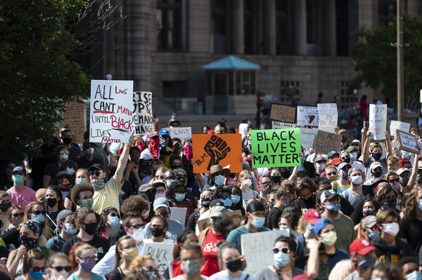 Protesters gathered Monday at the City Justice Center in St. Louis for a protest for social justice, ignited by the recent killing of George Floyd.