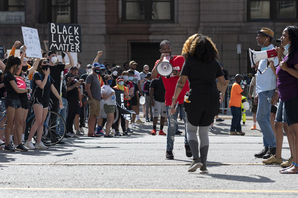Protesters outside the City Justice Center in St. Louis on Monday.