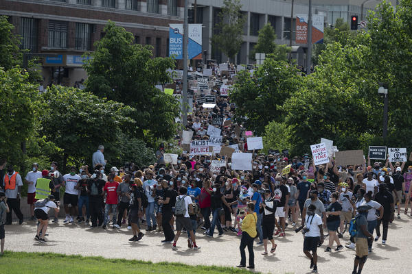 Protesters demonstrate against the killing of George Floyd.