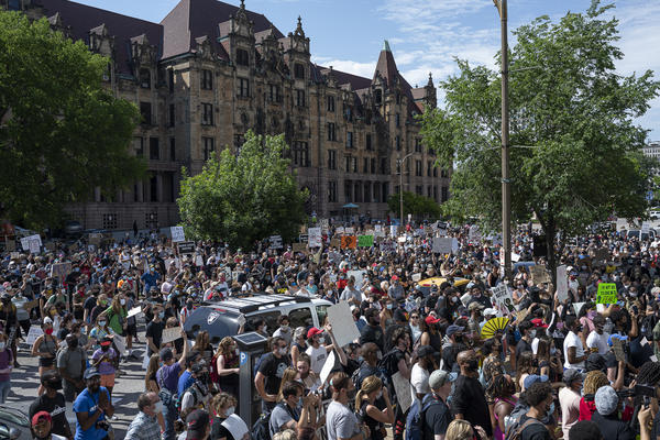 Thousands gathered Monday at the City Justic Center in St. Louis for a protest of the killing of George Floyd.