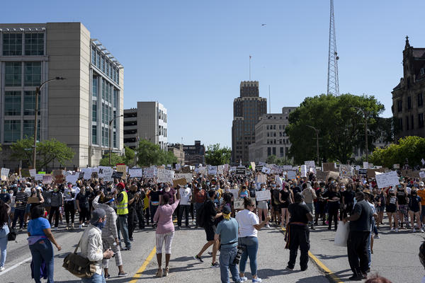 Protesters marched on Monday against the killing of George Floyd.