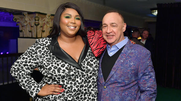 The artist Lizzo, whose album <em>Cuz I Love You</em> was released by Warner Music Group subsidiary Atlantic Records, and Access Industries owner Len Blavatnik, photographed at a pre-Grammys party on Feb. 7, 2019 in Los Angeles.