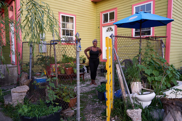 Mina Seck in her garden during the COVID-19 lockdown. New Orleans, Louisiana. May 21, 2020.